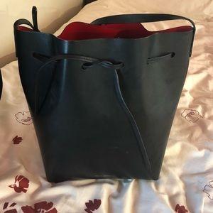 Mansur Gavriel black and red bucket bag
